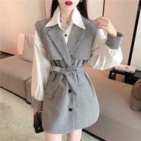 Women's Vests outono houndstooth magro feminino colete com cinto de comprimento médio gilet jaqueta + versátil solto manga longa camisa duas peças 36L8