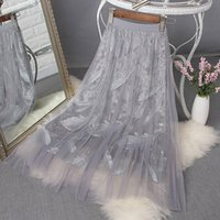 Skirts Spring Summer 2021 Womens Beading Embroidery Leaves Elegant Sweet Girls Skirt Tulle High Waist Midi Long