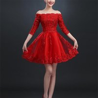 Party Dresses Latest Red Evening Elegant Appliques Half Sleeve Boat Neck Bride Gown Ball Prom Homecoming Graduation Formal Dress