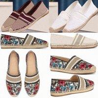 2021 Diseñadores de Lujos Blanco Lienzo Flor Plimsolls Pescadores Zapatos Obliculados Mircas Oblicaciones Mujeres Granville Espadrilles Espadrille Bajo Hibiscus RDMK #