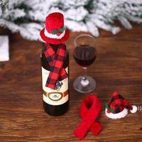 Natal búfalo xadrez mini santa chapéu e cachecol garrafa de vinho tampa de talherware titular mesa de xmas ornamentos llb11183
