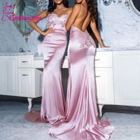 Bridesmaid Dress Sexy Backless Dresses 2021 Dusty Rose Sweetheart Spaghetti Straps Lace Satin Plus Size Wedding Guest Prom