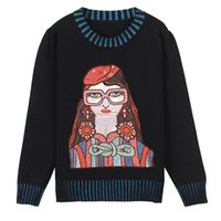 Runway Character Embroidery Long Sleeve Knitted Sweater Pullovers Women Loose Round Neck Striped Top Female Autumn Ladies Jumper Women's Swe