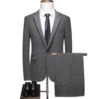Men's Suits & Blazers (Jacket+Pants) Men Slim Fit 2 Pieces Tailored Oversize Blazer Dress Groom Wedding Man Suit 2021 Fashion Tuxedo 4XL