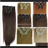 Inon 6pcsset in dritto 24 pollici 140g clip sintetica sulle estensioni dei capelli Più colori NWOFB QNTDF