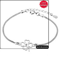 Четырех листовые травяные браслеты мода серебряные украшения корейский популярный европейский и американский преподаватель ювелирных изделий Низкая цена оптом SL073RTUOG
