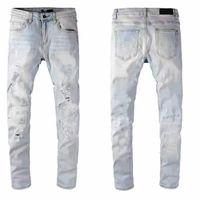 Men's jeans designerjeans high quality denim luxury motorcycle hole retro low waist tear fold suture dunk new golf men'swear s1