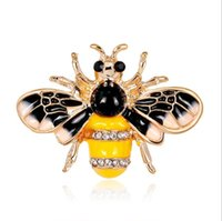 Vintage Enamel Insect Brooch Rhinestone Crystal Bee Brooches Pins Jewelry Gifts for Men and Women