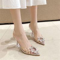 Rhinestone Women Sandals High Heels Pointed Toe Transparent Shoes Woman Pumps Wedding Shoes Women