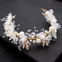 Hair Clips & Barrettes Handmade Bridal Flower Faux Pearl Crystal Leaves Wedding Headband Women Hairband Children Accessories