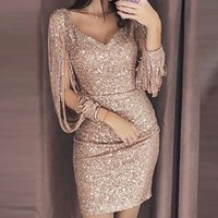 Two Piece Dress 2021 Woman Party Bodycon Sexy Sequin Night Shiny Tassel Glitter es for Evening Robe Femme#xx
