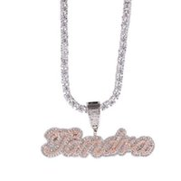 drxjewelry Custom Name Necklace Edwardian Script Letter Pendant Iced Out White Pink CZ Women Hiphop Jewelry