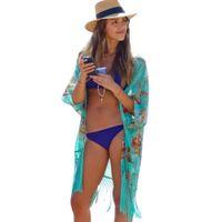 Bayan Gömlek Yaz Kadın Moda Plaj Kapak Çiçek Yukarı Bayanlar Seksi Mayo Mayo Ups Cape Kaftan Kimono Knits Giymek