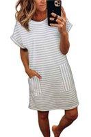 Kadın Çizgili Gömlek Elbiseler Yeni Kadın Kısa Kısa Kollu Elbise Kadın O Boyun Tasarımcı Bir Çizgi Elbise