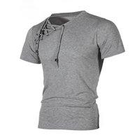 4 cores dos homens camiseta Split Bandage Slim Fit T-shirt de Manga Curta T-shirt Moda Tee Moda Casual M-3XL