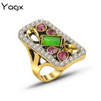 New European and American Retro Colored Gemstone Ring Gold-Plated Palace Flower Ring Womens Bracelet Wish Supply
