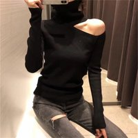 Sexy Knitted Sweater Off Shoulder Pullovers for Women Long Sleeve Turtleneck Female Jumper Black White Clothing 210914