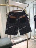 21ss homens mulheres designer denim shorts calças de couro bolso letras jacquard primavera verão homens webbing calça casual letra calças casamento preto branco azul 03