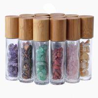 Botellas de rodillos de aceite esencial de 10 ml Rollo de vidrio en botella de perfume con cristal triturado Cristal de cuarzo piedras preciosas de piedras preciosas Rollerball