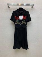 528 XL 2021 primavera verano manga corta bordado cuello cuello cuello flora impresión albaricoque negro de alta calidad vestido moda vestido largo falda para mujer ropa de mujer falaolan