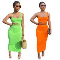Plus size Summer women solid color dress suit two piece set designer sleeveless crop top fashion vest bra dresses