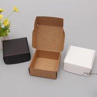 Pequeño Caja de papel Kraft Cartón marrón Cajas de jabón hecho a mano CRAF Blanco Embalaje de regalo Embalaje de joyería negra EWB6155