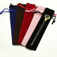 Multi-color Única caneta saco fonte artesanal flannel lápis marcador bolsa suporte de armazenamento manga cosmética p vt0204