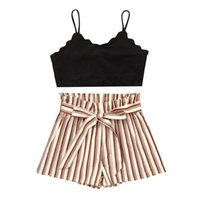 Kids Girls Children Clothing Casual Outfits Black Sleeveless Camisole Tank Tops Crop Top + Stripe Shorts 2Pcs Summer Sets