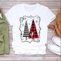 Striped Plaid Tree 90s Womens T Shirt Girl Year Merry Christmas Print Tshirts Clothes Graphic Female Top Ladies Tee