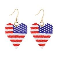Brincos patrióticos patrioticos para mulheres bandeira americana 4 de julho feitos à mão Bead colorido Bohemia Q0709