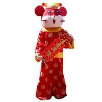 Mascote trajes ano novo mouse dos desenhos animados mascote traje vermelho fantasia carnaval vestido animal mascote vestuário