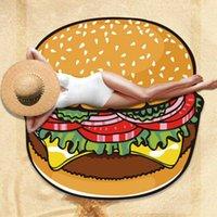 150*150cm Round Polyester Sarongs Beach Shower Towel Blanket Yoga Towel Skull Hamburger Strawberry Doughnut Pineapple DFF4964