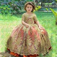 Elegant Half Sleeves Flower Girls' Dresses for Wedding Gold Lace Applique Toddler First Communion Gown Princess Little Kids Birthday Wear