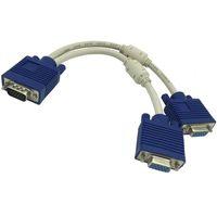 1 computadora a Dual 2 Monitor VGA Splitter Cable Video Y Splitters 15 Pin Dos puertos D-Sub Masculino - Mujer