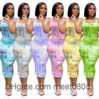 Women Casual Dresses 2021 summer new Designer Fashion women's U neckletter print sleeveless vest Short skirt multicolor simple Slim dres meet0808