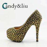 Chaussures de robe Grande taille Gold Léopard Mariage Crystal Crystal Strass Pompes MainMande pour une soirée de banque de réception