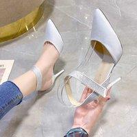새로운 라인 석 발목 스트랩 하이힐 샌들 여성 블랙 벨벳 뾰족한 발가락 Stilettos 활주로 신발 봄 우아한 파티 펌프 Y0907