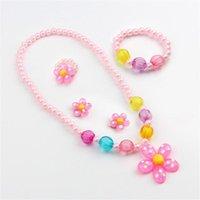 Earrings & Necklace 2021 Fashion 5Pcs Cute Flower Artificial Pearls Kids Girls Bracelet Ring Jewelry Set