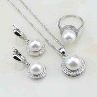 Tour 925 Argent Blanc Pearl Cubic Zirconia Set Boucles d'oreilles / Bague / Pendentif / Collier Chaîne Cadeau pour les femmes