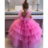 Cute Pink Lace Little Kids Infants Flower Girl Dresses Princess Jewel Neck Tulle Applique Floral Short Formal Wears for Weddings