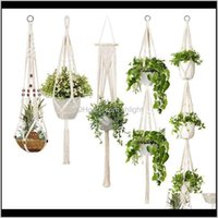 Supplies Patio, Lawn Home & Garden Drop Delivery 2021 5-Pack Rame Plant Hangers, Different Tiers, Handmade Cotton Rope Hanging Planters Set F