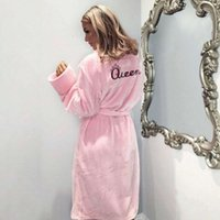 Womens Sleepwears Femme Lingeries Warm Winter Flannel Bathrobe Women Bath Robe Soft Thick Cute Pink Robes Dressing Gown Sleepwear
