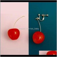 Puño lindo estilo Cherry Clip Europeo y Americano Fruta de la moda Temperamento de oído largo para evitar la perforación K70CP WF2MR