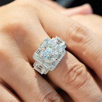 2021 Unique Male 2ct Lab Diamond cz Ring 925 sterling silver Engagement Wedding band Rings for men Gemstones Party Jewelry Y0723