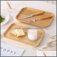 Kitchen, Dining Bar Home & Gardenkitchen Dinnerware Dishes Square Dessert Biscuit Plate Tea Set Trays Wooden Cup Bowl Cushion Tableware Tray