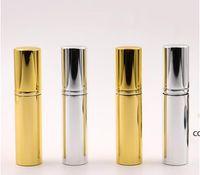Brilliant Gold Silver 5ml Refillable Portable Mini bottle Aluminum Spray Atomizer Empty Spray Atomizer Container DHE9629