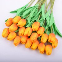 Silk Flowers PU Artificial Tulips Real Touch Flower mini Tulip Decorative Bouquet Wedding Decorations Home Decor 16 Colors LLE7023