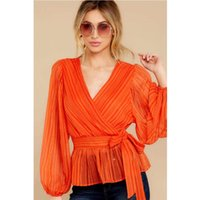 Autumn Spring Women Chiffon Shirts Blouse Long Sleeve Female V-Neck Ruffle Casual Elegant Top Bow Ladies Fashion 2021 Women's Blouses &