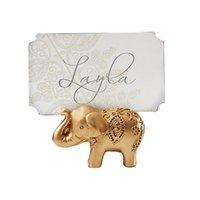 뜨거운 판매 200pcs 황금 코끼리 장소 카드 홀더 홀더 이름 번호 테이블 장소 웨딩 호의 선물 독특한 파티 호의 4577 Q2
