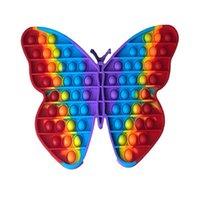 Estados Unidos Festa Favor Grande tamanho 30cm Arco-íris Borboleta Push Bubble Fidget Toys Stress Relief Toy Autism Necessidades